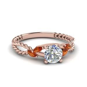 Orange Sapphire Braided Ring