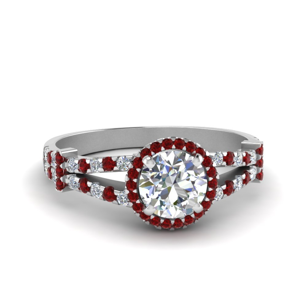 Halo Pave Split Shank Diamond Engagement Ring With Ruby In 14K White Gold