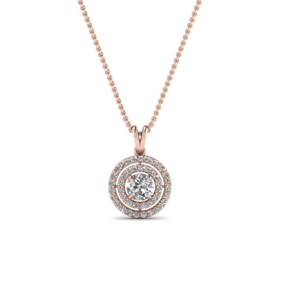 Double Halo Round Diamond Pendant