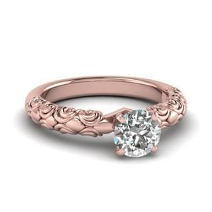 Round Cut Diamond Filigree Accent Solitaire Engagement Ring In 14K Rose Gold