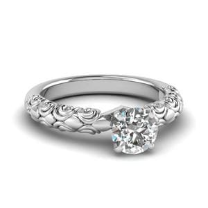 Round Cut Diamond Filigree Accent Solitaire Engagement Ring In 14K White Gold