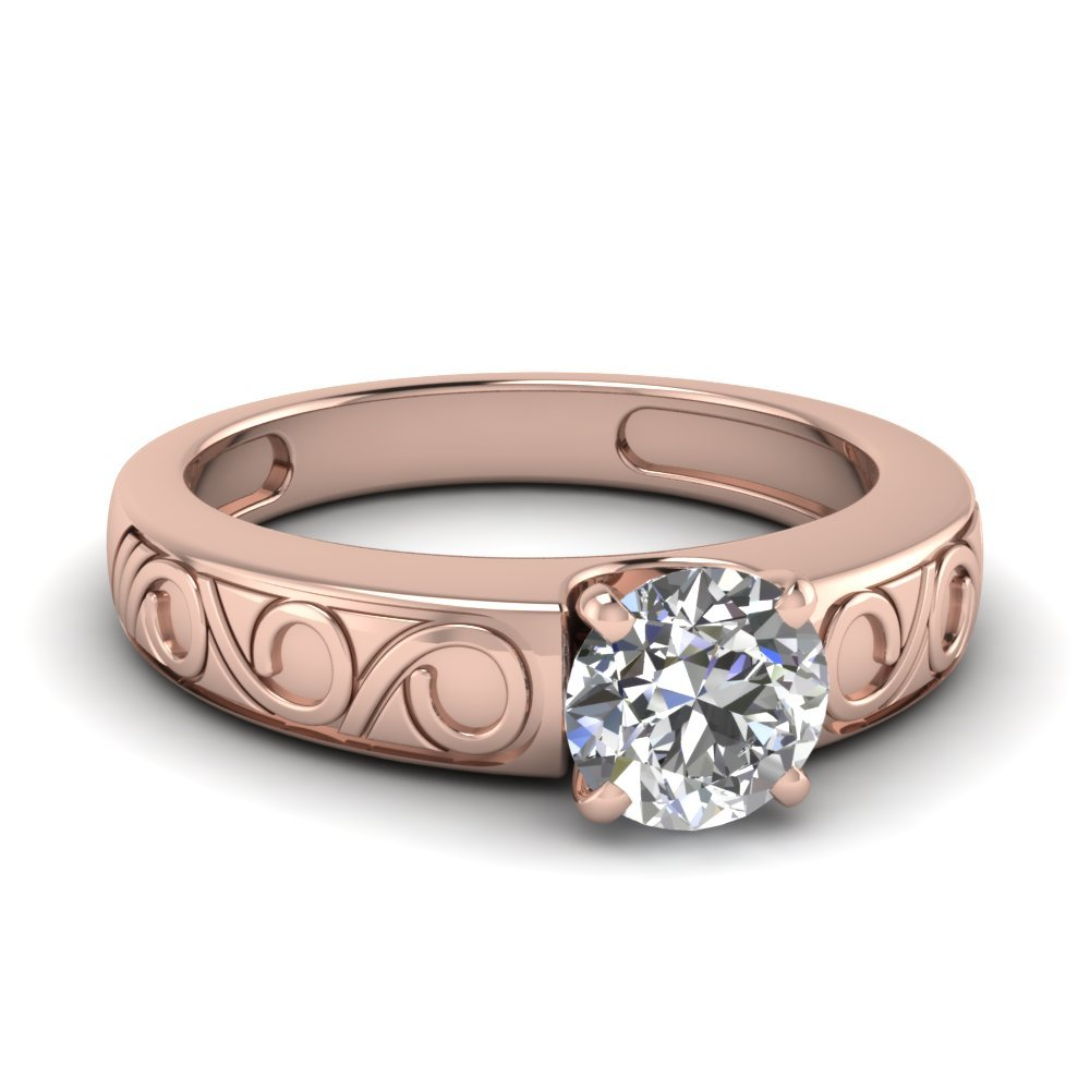 Round Cut Filigree Solitaire Ring In 14K Rose Gold