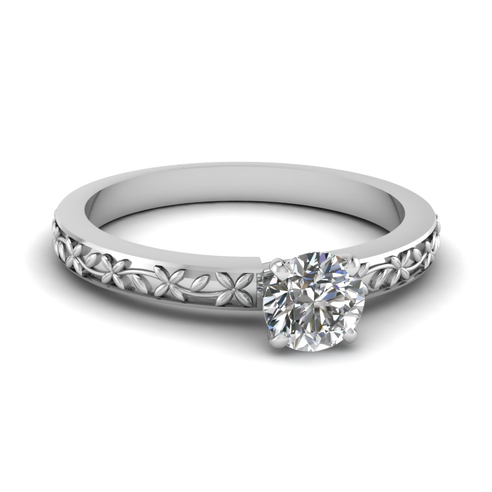 Floral Engraved Round Diamond Solitaire Ring In 14K White Gold