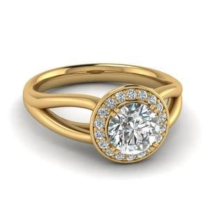 Round Cut Diamond Glossy Split Halo Ring In 14K Yellow Gold