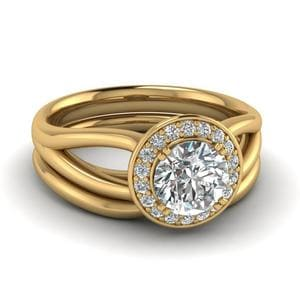 Round Cut Diamond Glossy Split Halo Wedding Set In 18K Yellow Gold