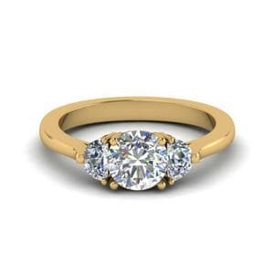 Half Moon Round Cut Diamond Engagement Ring In 14K Yellow Gold
