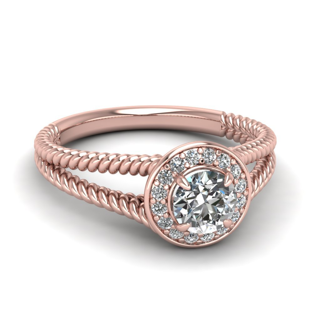 Round Cut Diamond Halo Rope Split Ring In 18K Rose Gold