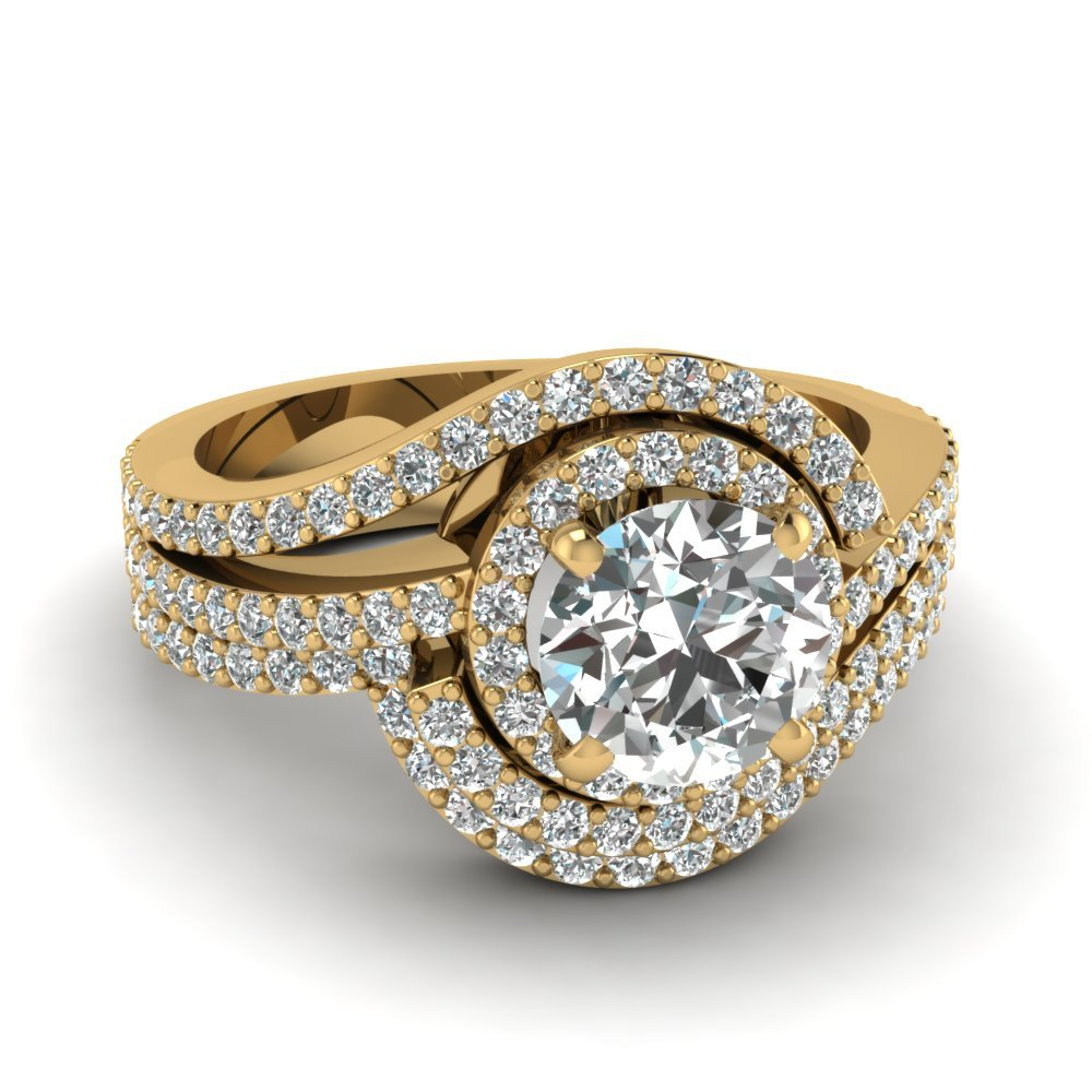 Swirl Round Diamond Halo Wedding Set