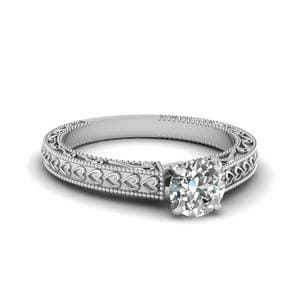 Milgrain Round Shaped Diamond Ring