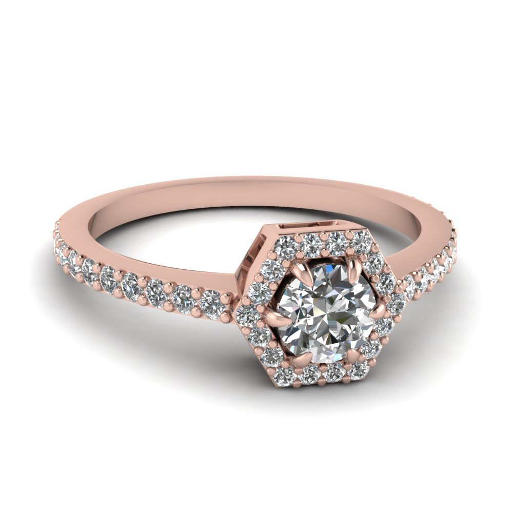 Petite Hexagon Halo Diamond Ring