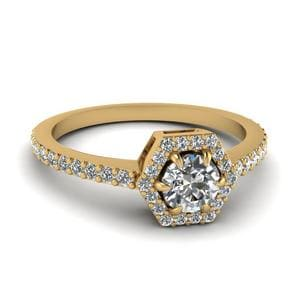 Petite Hexagon Halo Diamond Engagement Ring In 14K Yellow Gold