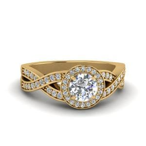 Round Cut Diamond Intertwined Shank Halo Engagement Ring In 14K Yellow Gold