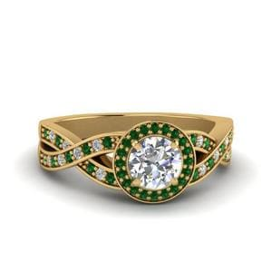 Emerald Halo Intertwined Shank Ring