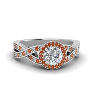 Twisted Orange Sapphire Halo Diamond Ring