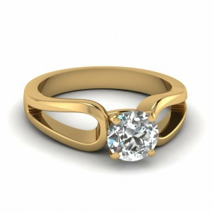 Round Cut Diamond Loop Duet Soltaire Ring In 14K Yellow Gold