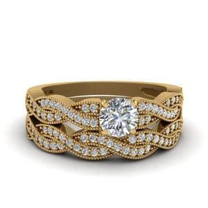 Round Cut Diamond Milgrain Twisted Wedding Set In 14K Yellow Gold
