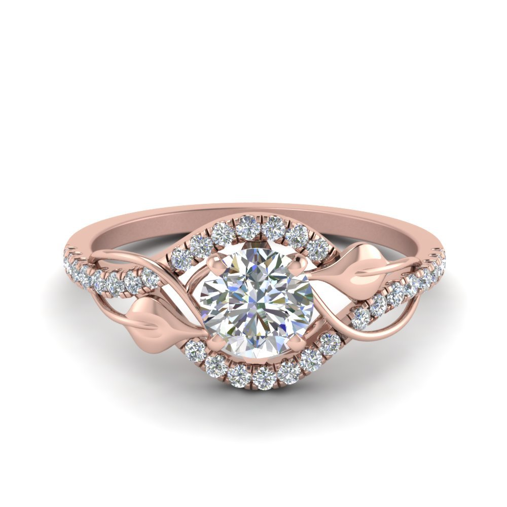 Round Cut Diamond Nature Inspired Twisted Halo Ring In 18K Rose Gold