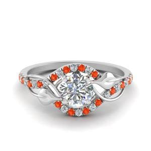 Twisted Halo Orange Topaz Ring