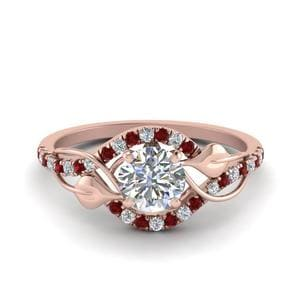 Round Diamond Ruby Ring