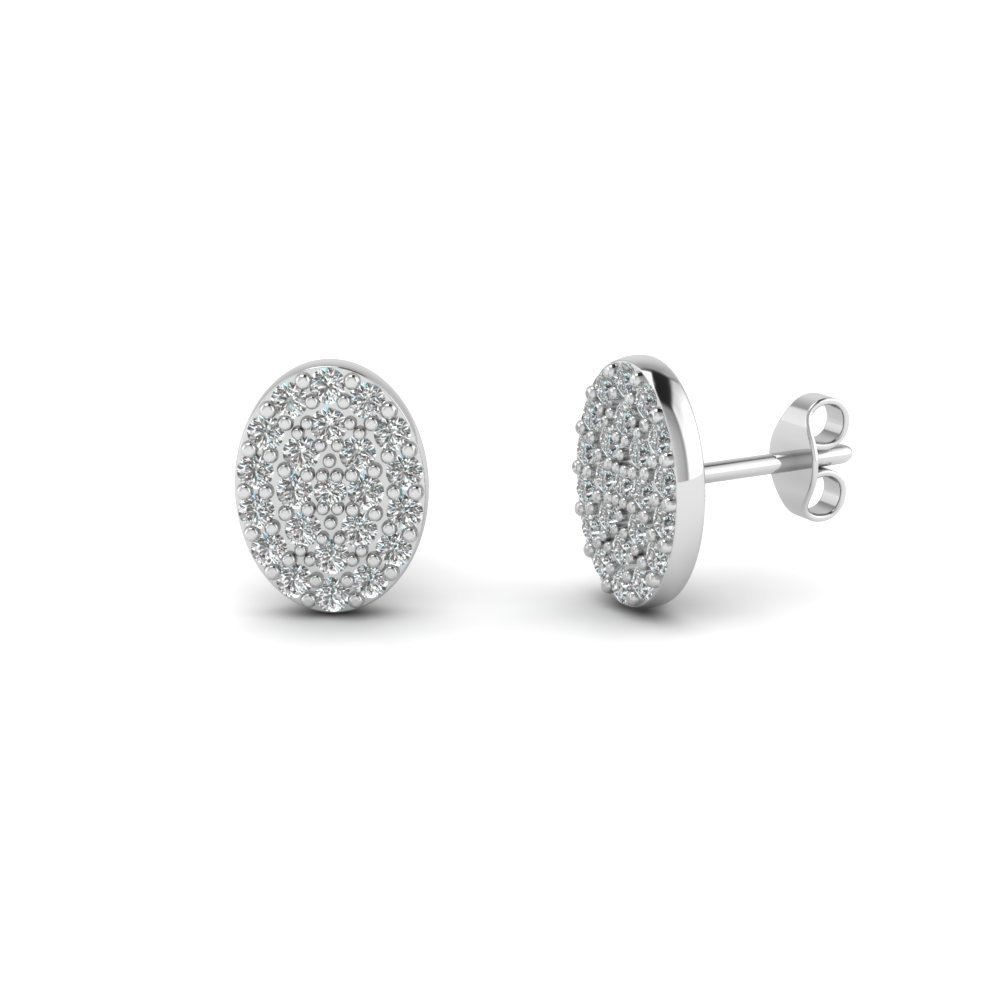 Round Cut Diamond Oval Disc Stud Earrings In 14K White Gold