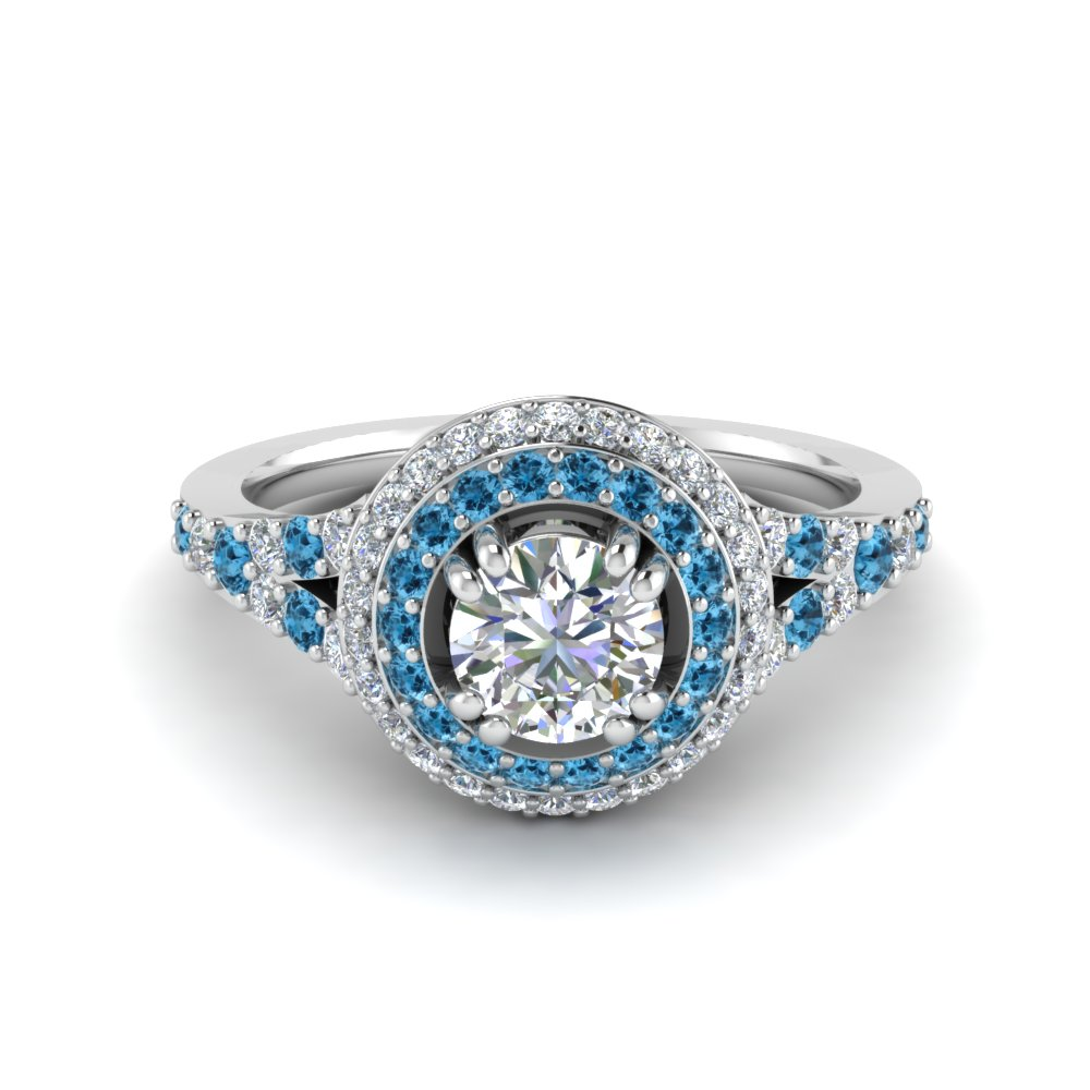 Petite Double Halo Diamond Engagement Ring With Blue Topaz In 950 Platinum
