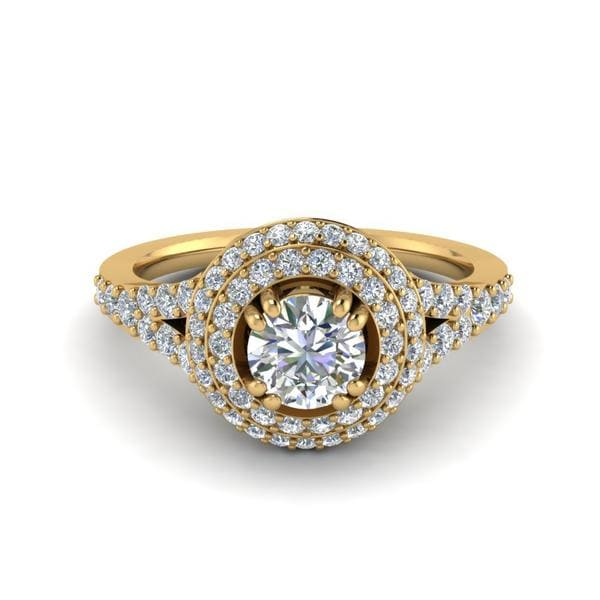 Petite Double Halo Round Diamond Ring