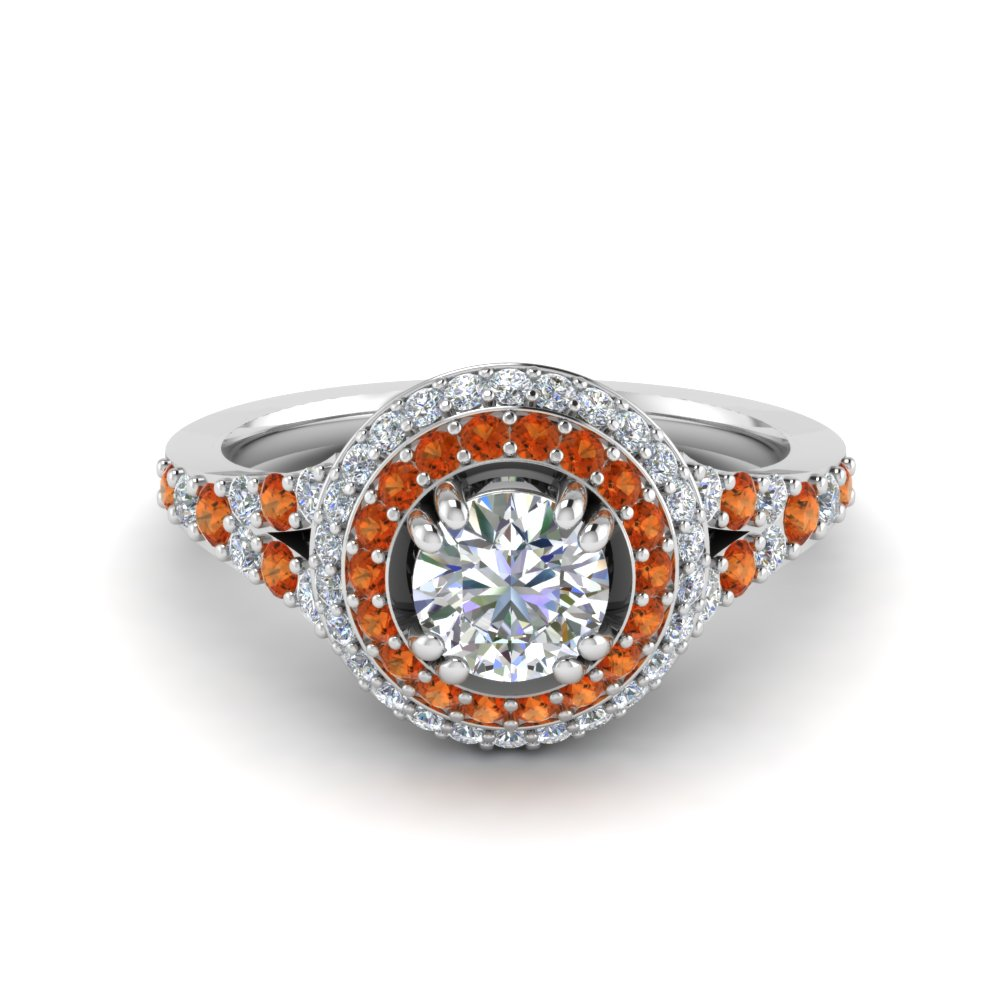 Petite Double Halo Diamond Engagement Ring With Orange Sapphire In 14K White Gold