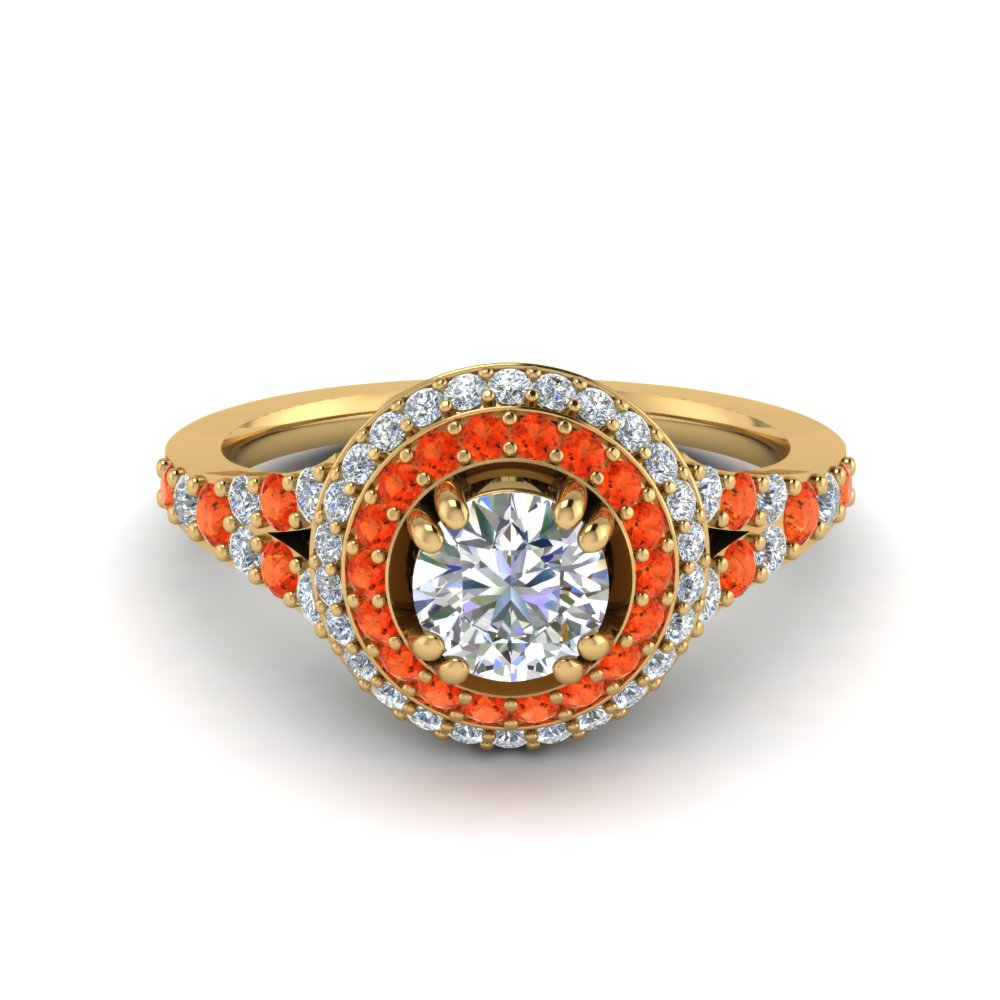 Petite Double Halo Diamond Engagement Ring With Orange Topaz In 14K Yellow Gold