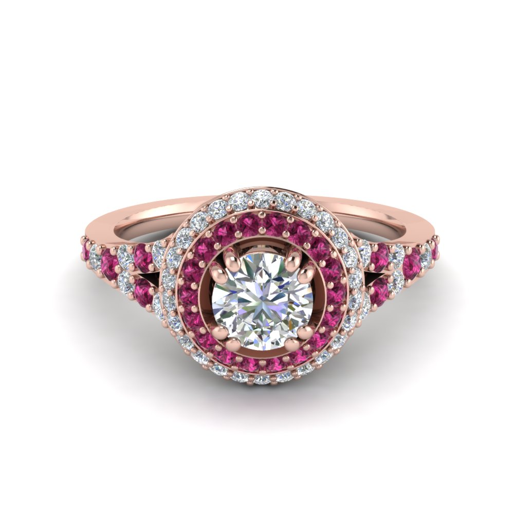 Petite Double Halo Diamond Engagement Ring With Pink Sapphire In 14K Rose Gold