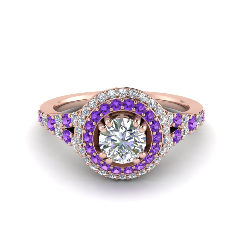 Petite Double Halo Diamond Engagement Ring With Purple Topaz In 14K Rose Gold