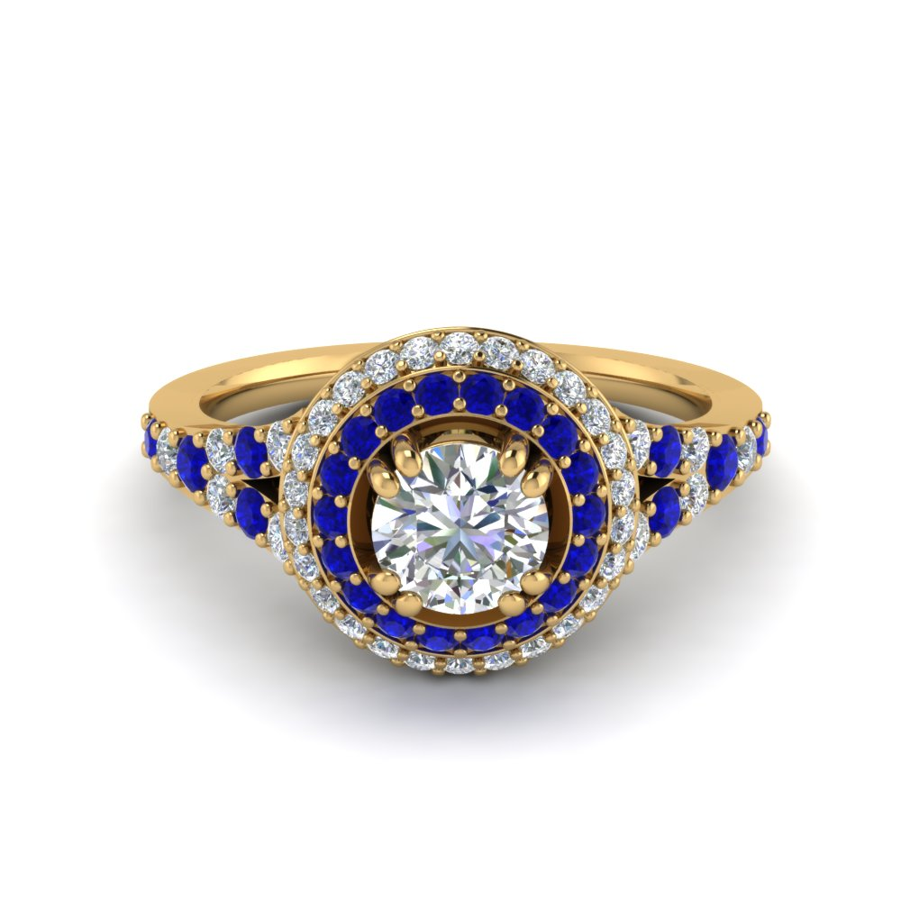 Petite Double Halo Diamond Engagement Ring With Sapphire In 14K Yellow Gold