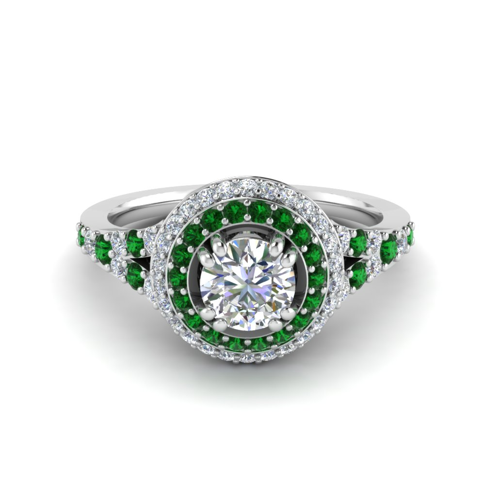 Petite Double Halo Diamond Engagement Ring With Emerald In 18K White Gold