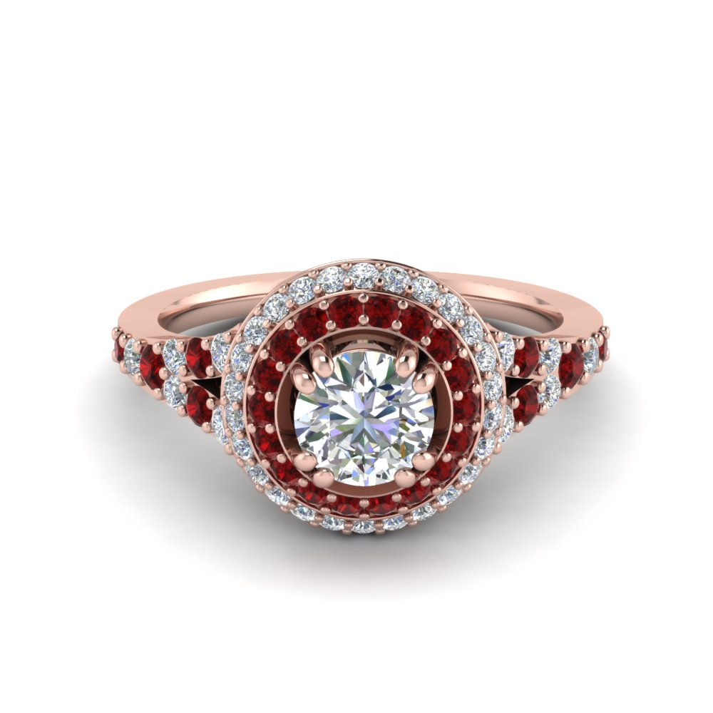 Petite Double Halo Diamond Engagement Ring With Ruby In 18K Rose Gold