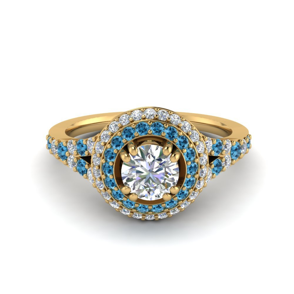 Halo Blue Topaz Engagement Ring