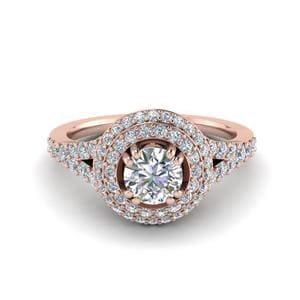 Petite Pave Halo Diamond Engagement Ring In 14K Rose Gold