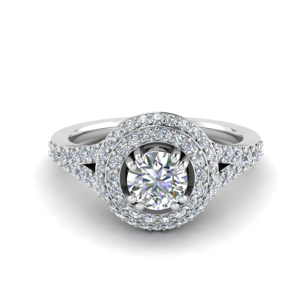 Petite Pave Halo Diamond Engagement Ring In 14K White Gold