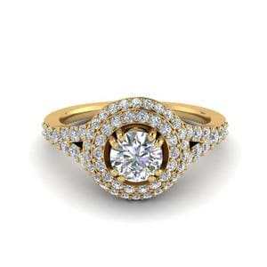 Petite Pave Halo Diamond Ring