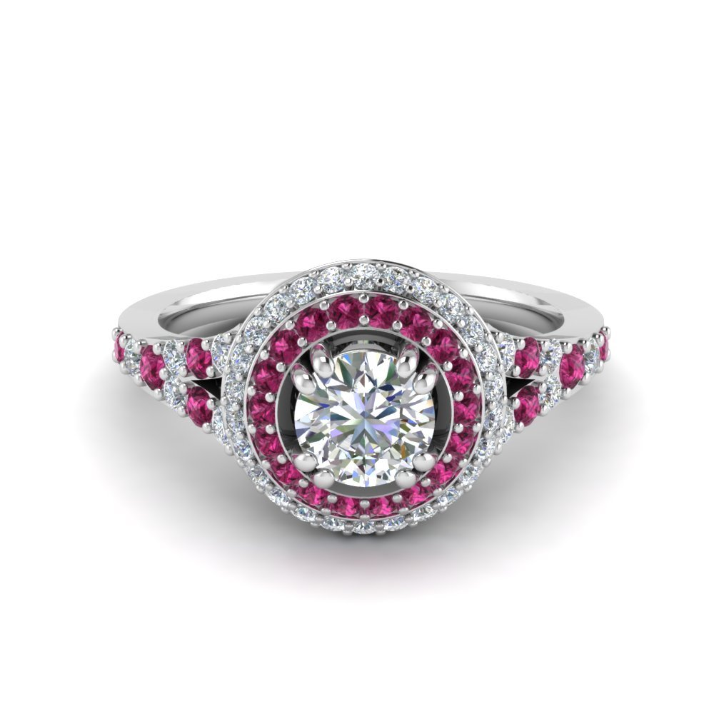 Petite Pave Halo Pink Sapphire Ring