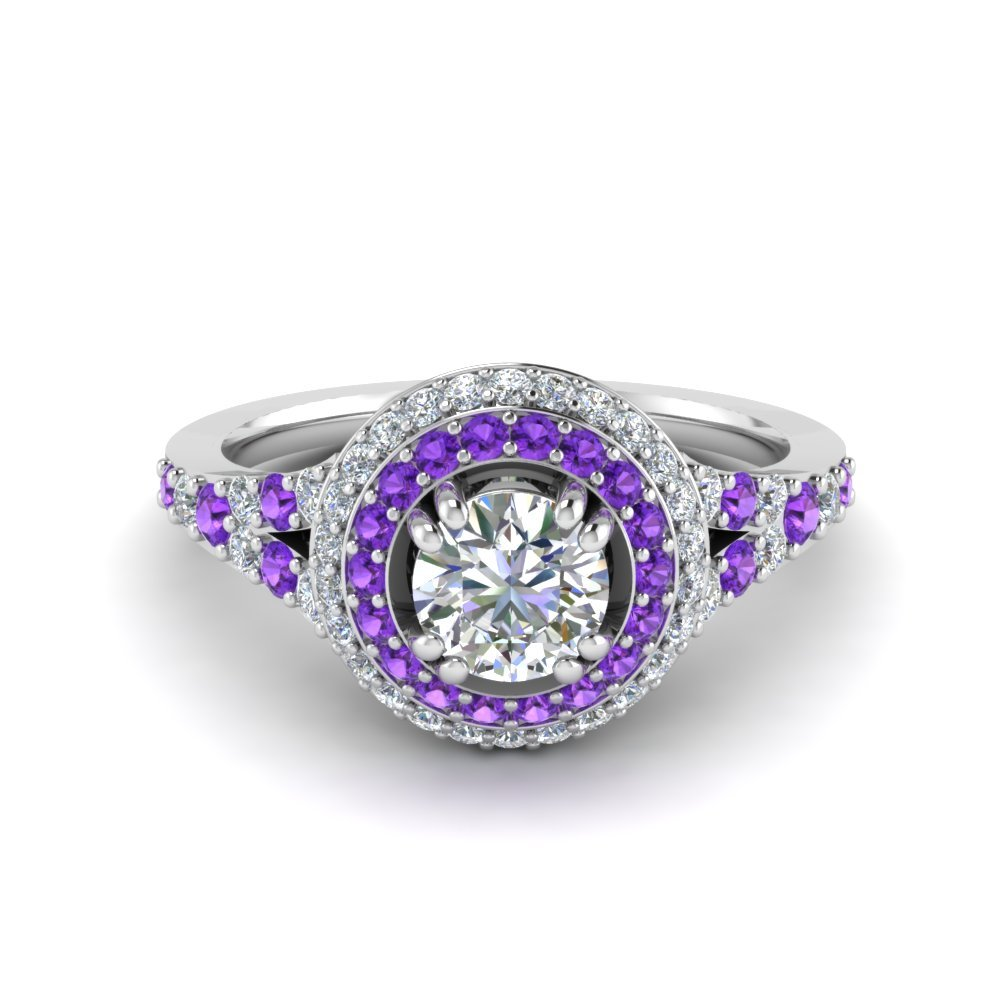 Platinum Halo Purple Topaz Ring