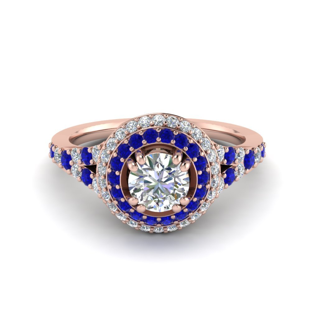 Sapphire Double Halo Pave Ring