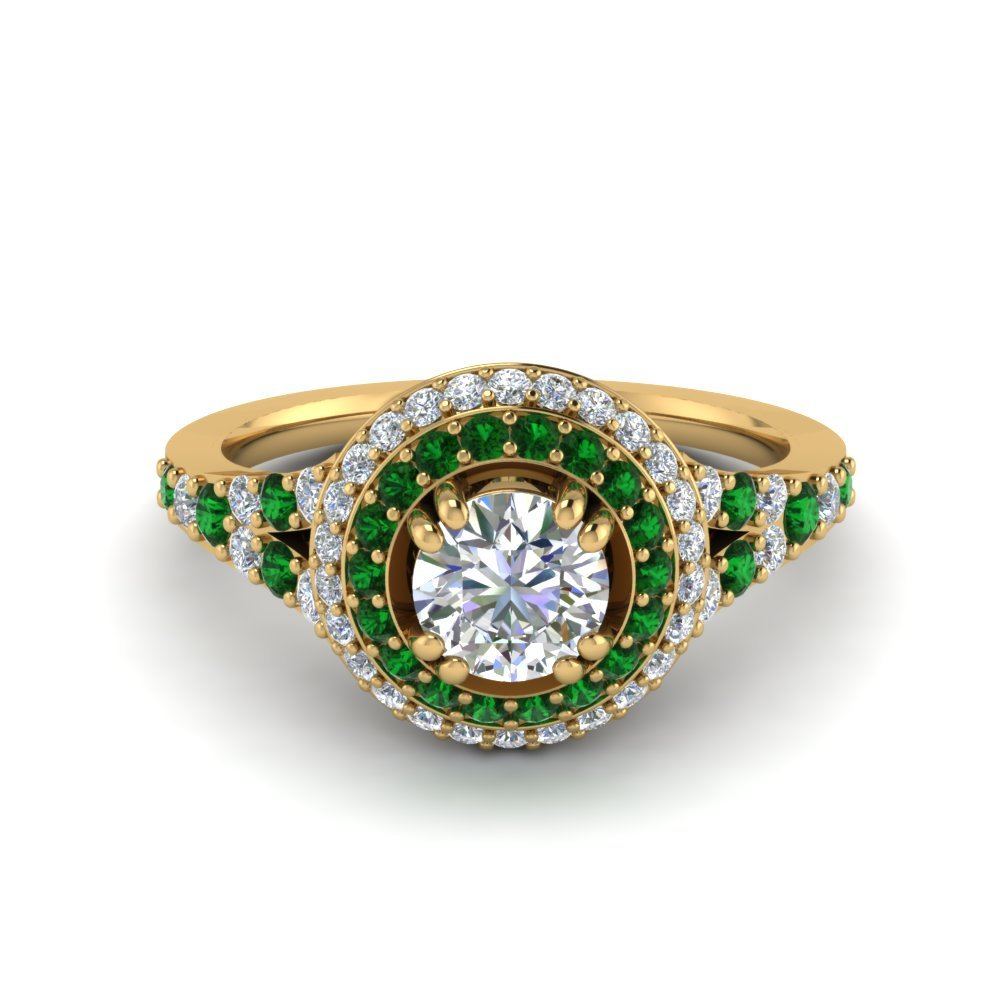 Petite Pave Halo Emerald Ring