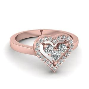 Heart Side Stone Ring