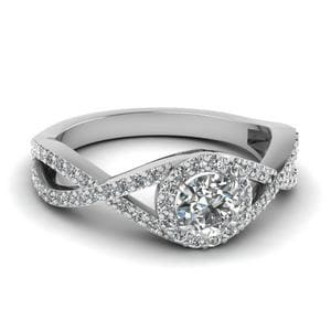 Infinity Halo Diamond Engagement Ring In 14K White Gold