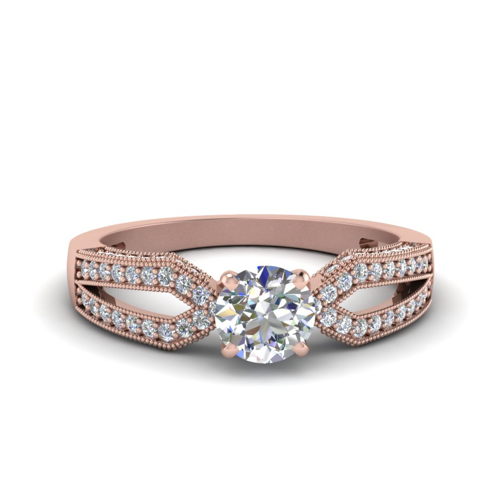 Antique Split Pave Round Cut Diamond Engagement Ring In 14K Rose Gold