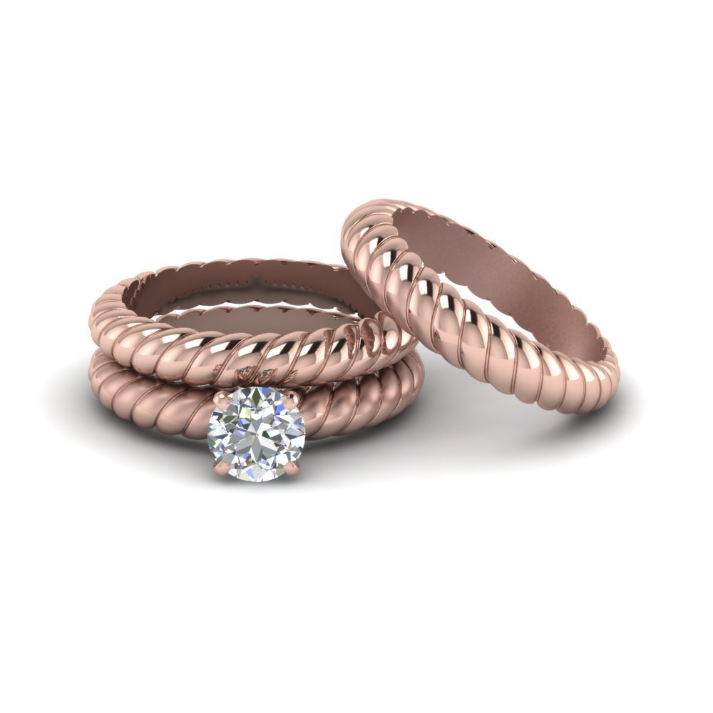 Round Cut Trio Ring In 18k Rose Gold