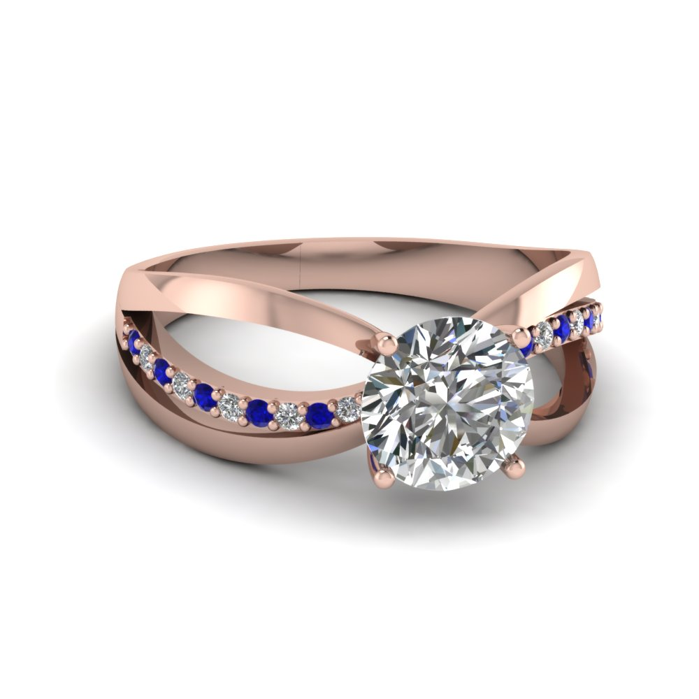 Split Band Engagement Ring With Sapphire