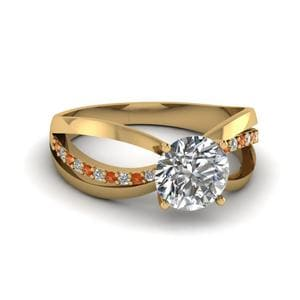 Inverse Split Diamond Engagement Ring With Orange Sapphire In 14K Yellow Gold