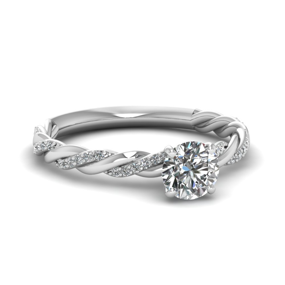 Round Cut Diamond Braided Ring