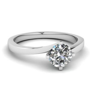 Round Cut Twisted Solitaire Diamond Ring In 950 Platinum