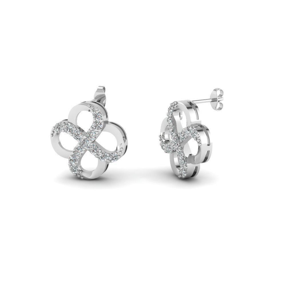 Round Cut Diamond Tetrad Loop Stud Earrings In Sterling Silver